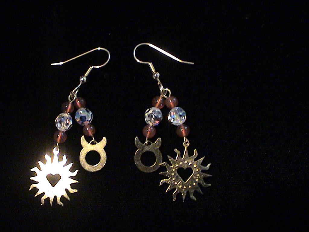 Taurus Zodiac Earrings with Gems