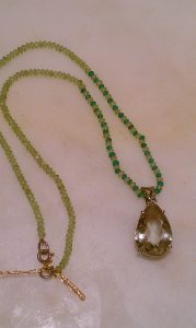 Emerald and Citrine Gemstring Necklace with Green Amethyst Teardrop Pendant
