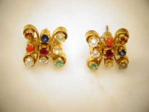 Navaratna Nine Gem Earrings - Namaste Yoga Balance