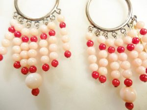 Red Pink Coral Sterling Silver Earrings (2)